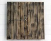 "Praf I 22x22cm (9x9""), rustic wall clock, old wall clock, square clock, aged wall clock, antique clock, wooden aged clock, old wood"