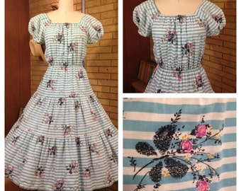 Vtg 1950's 50's Peasant Top Novelty Print Blue Striped Cotton Dress with Butterflies Size M