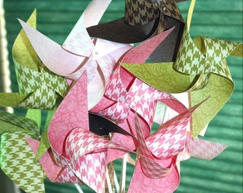 5 DAY SALE Pinwheels - Large Twirling Spinning in Houndstooth and Damask Patterns -  One Dozen - Great For Birthdays!