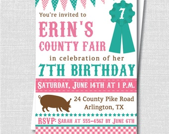 Girl County Fair Birthday Invitation - Summer County Fair Themed Party - Digital Design or Printed Invitations - FREE SHIPPING