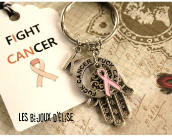 Personalized Breast Cancer Keychain Personalized Hand of Fatima Keychain Protection Keychain (style no1)