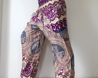 SM0098 Light Blue Thai Lady Pants Gypsy Pants Rayon Pants,Aladdin Pants Maxi Pants Boho Pants