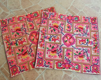 Get  2pcs of  40x40 cms Hmong hill tribe Embroidered Cushion cover, boho, bohemian,Thai cushion excl. pillow