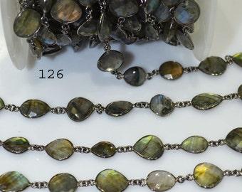 Wholesale Blue Flashy Labradorite Connector Chain-Natural Labradorite Bezel Chain-uneven Shape Briolette 12-14mm-YOU CHOOSE,55AA97