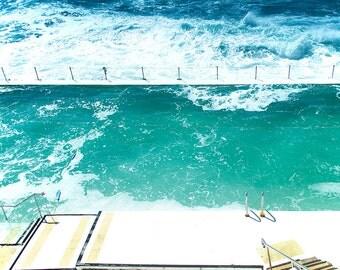 beach print, turquoise water, Beach photography,  Pool, Bondi Beach,ocean photography,Bondi Icebergs