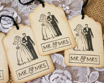 Retro Wedding Favor Tags - Wedding Gift Tags - Bridal Shower Favor Tags - Wedding Tags - Mr. & Mrs. Favor Tags - Vintage Themed Wedding Tags