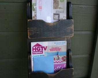 Mail Organizer - Letter Holder - Key Rack - Organizer - wood - Verticle Single/Single 3 hook