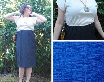 Blue Dress - Two Tone Dress, Blue and White Dress, Vintage White Dress, Vintage Dresses