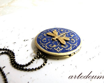 Blue Locket Necklace with gold brass Dragonfly Royal Blue and black gold Diamond cut chain secret message Photo keepsake gift for her