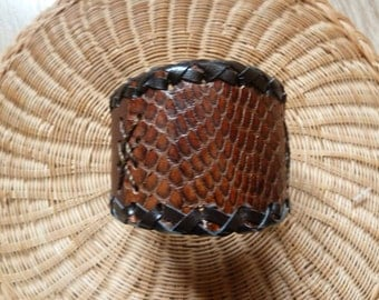 Brown Leather Wristband Cuff with Snake skin