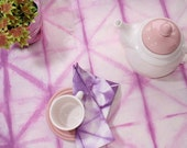Cotton tablecloth mauve shibori dye - Tie dye handmade tablecloth