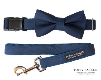 Navy Dog Bow Tie - Optional Matching Leash and Collar - Dog in Wedding By Poppy Parker