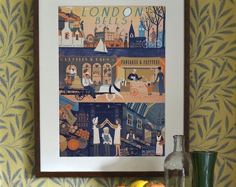 Original Design London Bells Oranges and Lemons Art Print A3 A2 A1 Poster Print  Historical Cityscape Traditional Vintage Industry Nursery