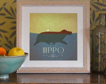 "Hippo Print Original Design Animal Alphabet Poster Art Deco Vintage 1930's 1940's Childrens Baby Nursery 7x7"" Square Cute Beautiful Retro"