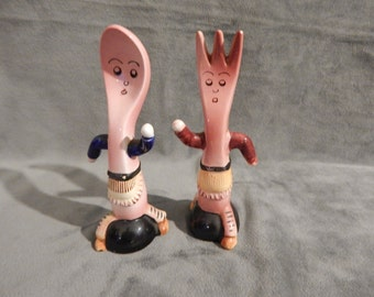Vintage 1950's Fork and Spoon  Salt and Pepper Shakers