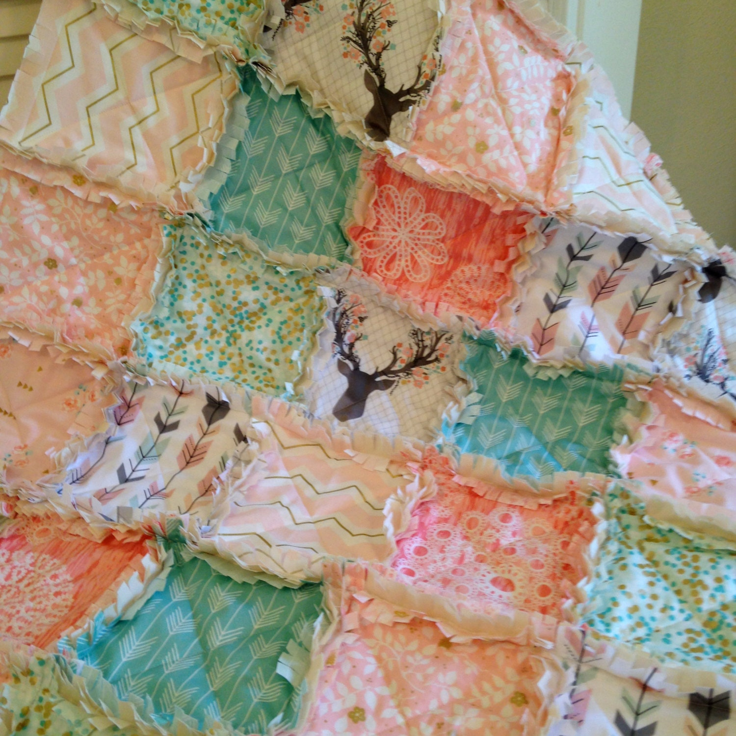 Crib Rag Quilt Coral Aqua Pink Gray Baby Quilt Gold Deer