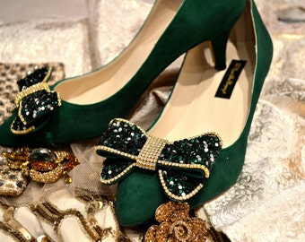 Custom Swarovski crystal Bottle emerald Green Velvet Suede bridal Wedding Bow Court Low heel shoe pump
