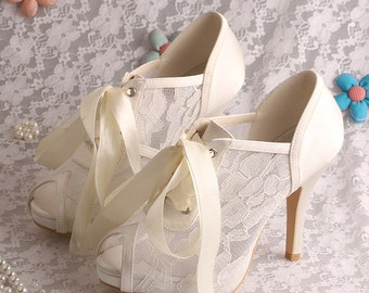 Custom handmade ivory white satin bow tie front mid heel bridal wedding lace ankle mary jane peeptoe boot court