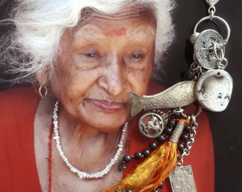 "Asian Chinese ""Zhou dynasty"" - tribal bag charm - Chinese - asian jewelry - vintage Asian symbol - yoga - ethnic jewelry"