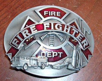 Vintage Fire Dept. Metal Belt Buckle