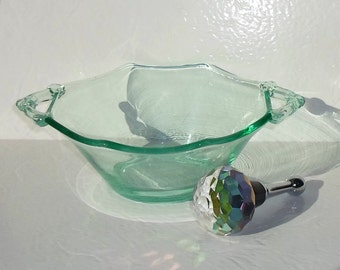 Vintage Green Depression Glass Bowl with Two Handles
