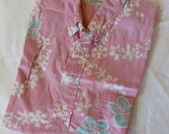 Vintage Hawaiian Shirt by HRH~His Royal Highness~Howard R. Hope~Hibiscus Lei~Pink and Blue Hawaiian Shirt~1970's Hawaiian Shirt~Aloha Shirt