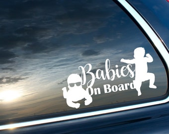 Twin Babies On Board Vinyl Car or Laptop Decal