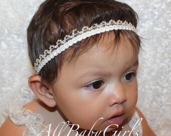 Baptism Crown, Ivory  Headband, Baby Headband, Infant Headbands, Baby Headband, Newborn Headband, Baby Headbands, Headband Baptism