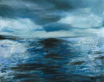 Sea Art Print - Ocean Art, Cloud Pastel Drawing, Giclee Art Prints, Nature Drawing