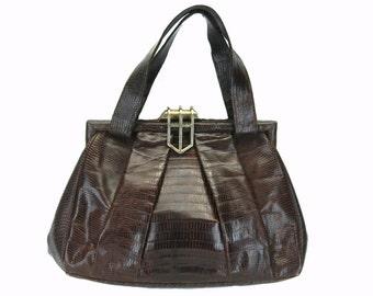 Lizard Skin Handbag, Vintage Lizard Purse, Brown Leather Bag, Genuine Lizard, Industria Argentina, Lizard Bag, Exotic Leather Bag