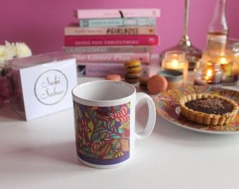 SALE: Summertime Leaves Patterned Mug, Bright Coloured Mug, Nature Print Mug, House Warming Gifts, Colourful Print Mug,