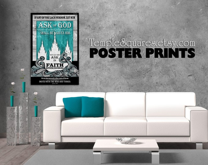Poster prints - Large Printed Posters! LDS YW Young Women 2017 mutual theme. Ask of God Ask in Faith UV Archival Ink Temple Fine Art