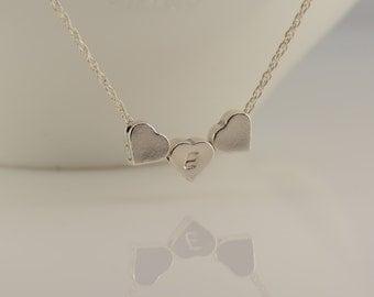 Tiny heart necklace. Heart necklace, Heart beads necklace. Personalized heart necklace