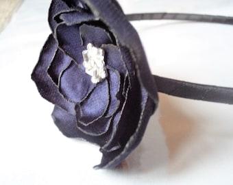 Navy blue silk rose flower metal headband