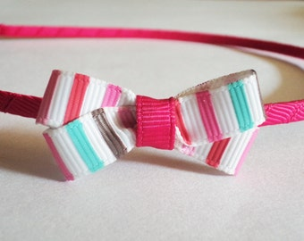 Hot pink brown turqouise and white bow metal headband