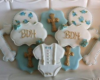 Baptism Sugar Cookies, little boy baptism cookies, blue baptism cookies, christening cookies
