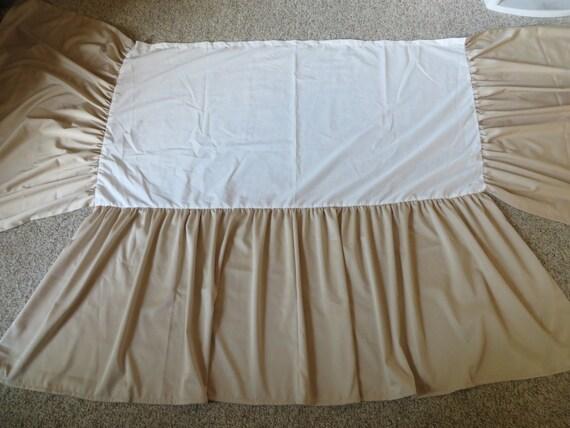 22 Drop Cream Beige Satin Crib Skirt Oatmeal Ruffle