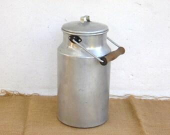 Vintage Aluminum Milk Can - Kitchenalia - Enamelware - Home Decor