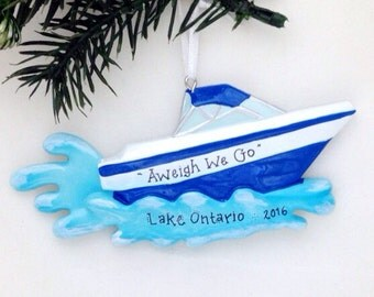 FREE SHIPPING Motorboat Personalized Christmas Ornament / Boat Ornament / Beach Ornament / Personalized Name or Message