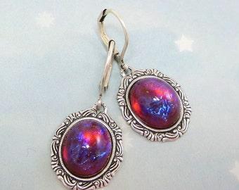Dragon's Breath Earrings Mexican Opal Earrings Fire Opal Jewelry Victorian Goth