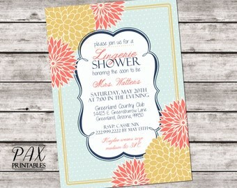 Floral Lingerie Shower Invitation - Printable Floral Dot Lingerie Party Invitations, Bachelorette Party, Bridal Shower, Hens Night