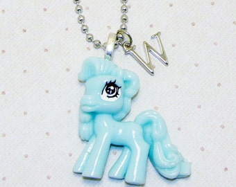 Large Aqua Blue My Little Pony Necklace With Initials, Pony Necklace, Pony Jewelry, Childrens Necklace, Initial Necklace