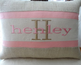 "Personalized Baby Gift - unique monogrammed baby gift -Pillow - 16""x12"" -  baby girl - pillow - insert included"