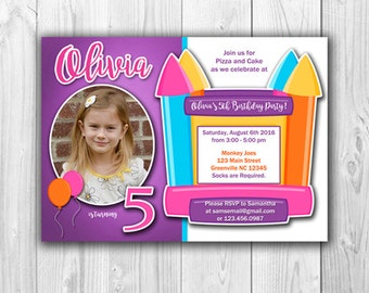 Bounce House Birthday Party Invitation - Digital File