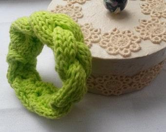 Neon green knitted bracelet soft bracelet warm bracelet