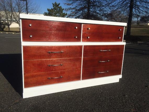 mid century modern white and mahogany 6 drawer dresser. Black Bedroom Furniture Sets. Home Design Ideas