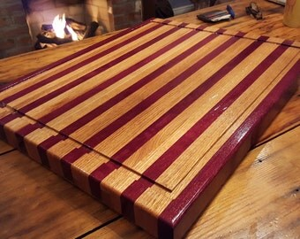Large Butcher Block Cutting Board Purple Heart And Oak Two Inches Thick