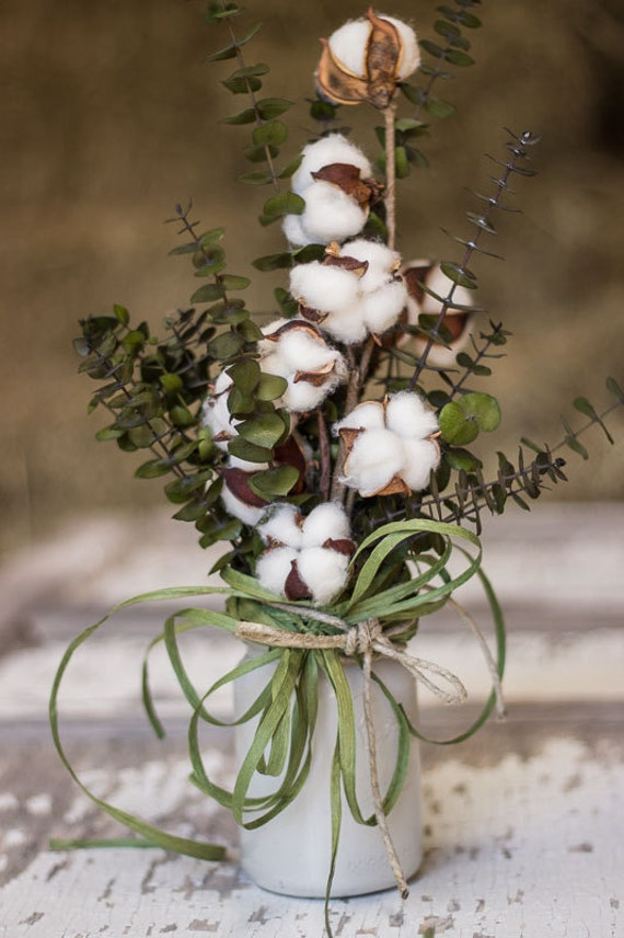 cotton boll arrangement jar with cotton cotton and