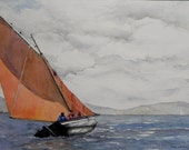 Galway Hooker on Lough Swilly, Co Donegal. Traditional Boat Ireland.