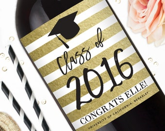 Graduation Gift Wine Labels - Congrats Graduate Liquor Label Stickers - Graduation Gift - Class of 2016 - Custom Graduation PartyFavors